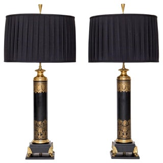 Tall Neoclassical-Style Lamps with Brass Lion's Feet, A Pair