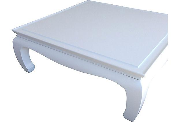White Lacquered Ming Coffee Table Chairish