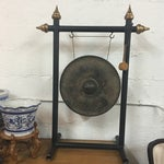 Image of Vintage Chinese Bronze Gong Stand & Mallet
