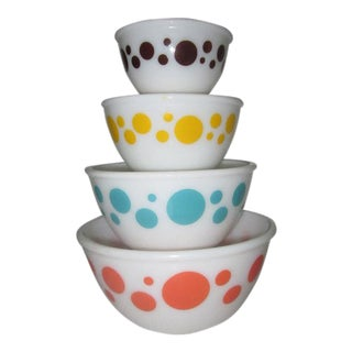 Hazel-Atlas Polka Dot Milk Glass Mixing Bowls - Set of 4