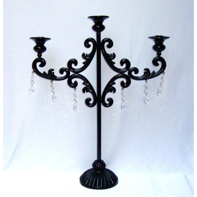 Large Gothic Deco Black Metal Crystal Candelabra - Image 2 of 11