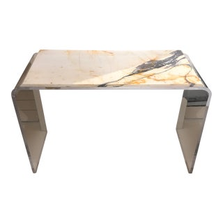 Pavonazzetto Marble & Lucite Console Table
