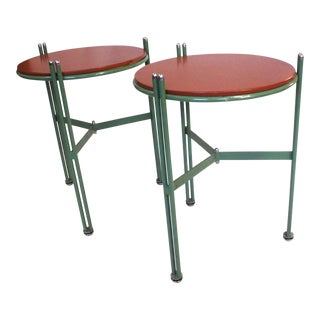 Mid-Century Modern Leather & Enamel Side Tables - A Pair