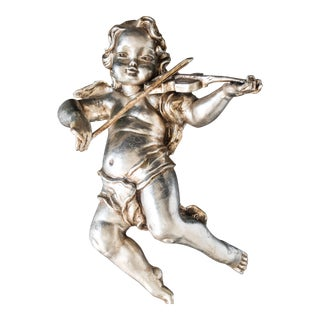 Antique Cherub Silver Leaf Wall Sculpture