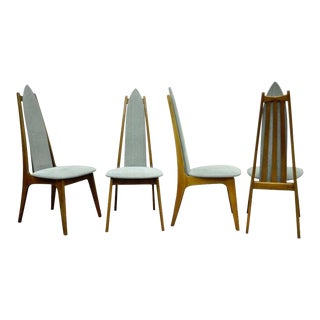 Vintage Mid-Century Danish Modern Sculptural Walnut Dining Chairs- Set of 4
