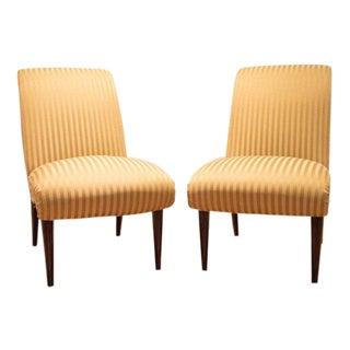 Viennese Biedermeier Style Art Deco Flare Slipper Chairs - a Pair