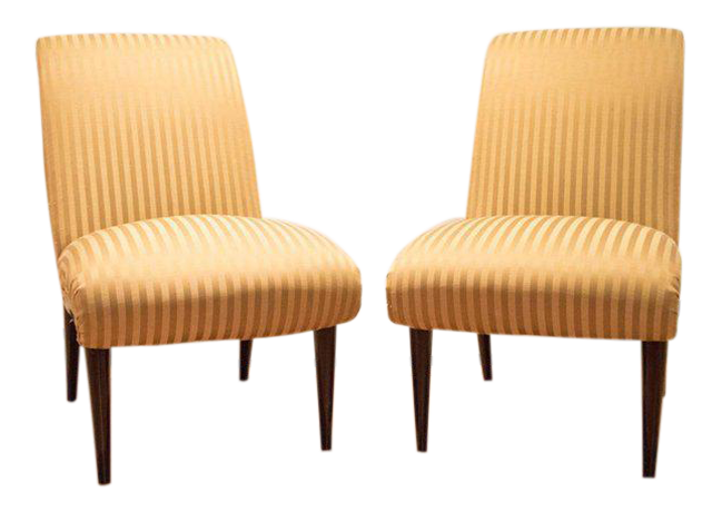 Viennese Biedermeier Style Art Deco Flare Slipper Chairs   A Pair