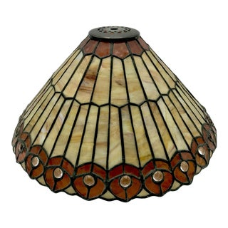 Vintage Tiffany Style Stained Glass Lamp Shade in the Style of Peacock Feathers