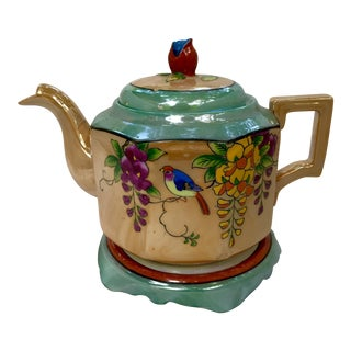 Art Deco Japanese Lustreware Teapot on Base With Bird Theme - 3 Piece Set