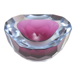 Italian Murano Diamond Faceted Sommerso Geode Glass Bowl