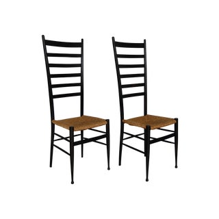 Gio Ponti Style Black Italian Chairs - A Pair
