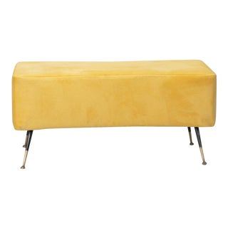 Italian Bench with Brass Legs in Manner of Gio Ponti