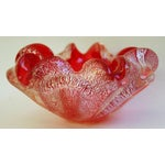 Image of 1960s Red & Silver Italian Murano Art Glass Dish