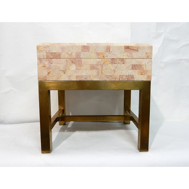 Maitland-Smith Stone & Brass Box Side Table - Image 2 of 10