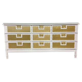 Hollywood Regency Faux Bamboo & Rattan 9 Drawer Lacquered Cabinet Dresser