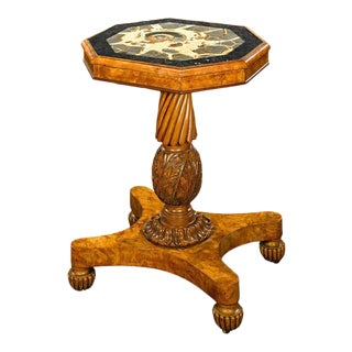 English Regency Fossil and Burl Elm Pedestal Table