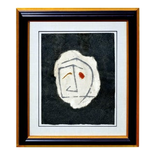 1984 Abstract Figure Mixed Media Painting
