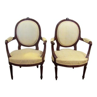 Antique French Carved Wood Upholstered Chairs - A Pair