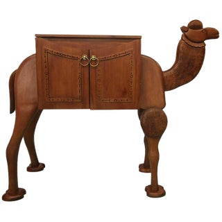 Vintage Hand-Carved Turkish Camel Liquor Cabinet Bar