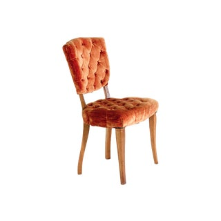 Orange Tufted Velvet Side Chair