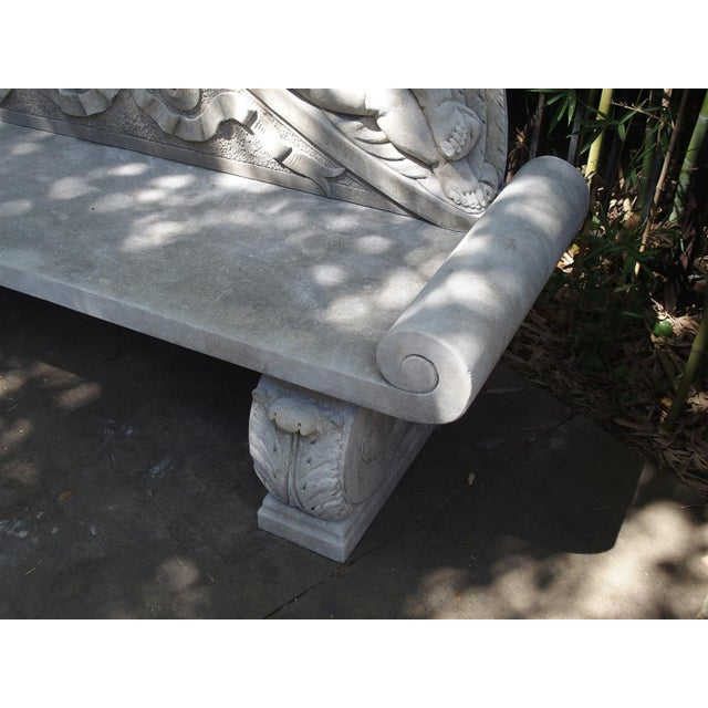 Winged Cherubs Carved Limestone Garden Bench from Italy - Image 7 of 11