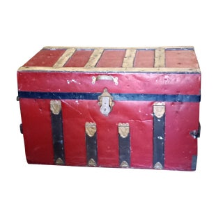 Antique Rustic Painted Red Trunk