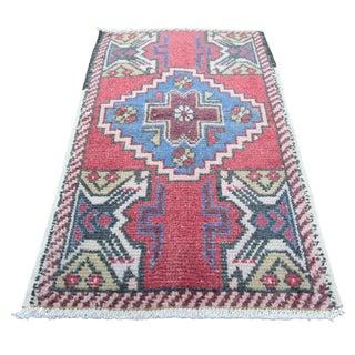 Vintage Turkish Nomadic Handmade Wool Area Rug - 1′8″ × 2′10″