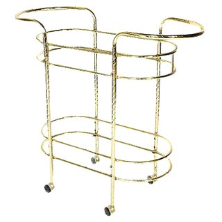 1960s Gilt Metal & Glass Bar Cart