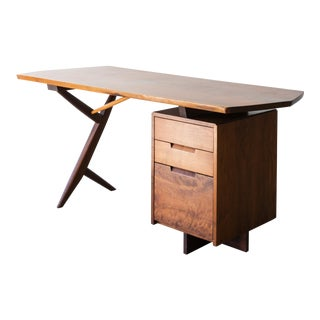 Conoid Cross-Legged Desk in American Walnut and Hickory by George Nakashima, New Hope, 1963