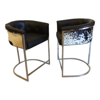 Vintage Arteriors Black & White Cow Hide Calvin Counter Stools- A Pair