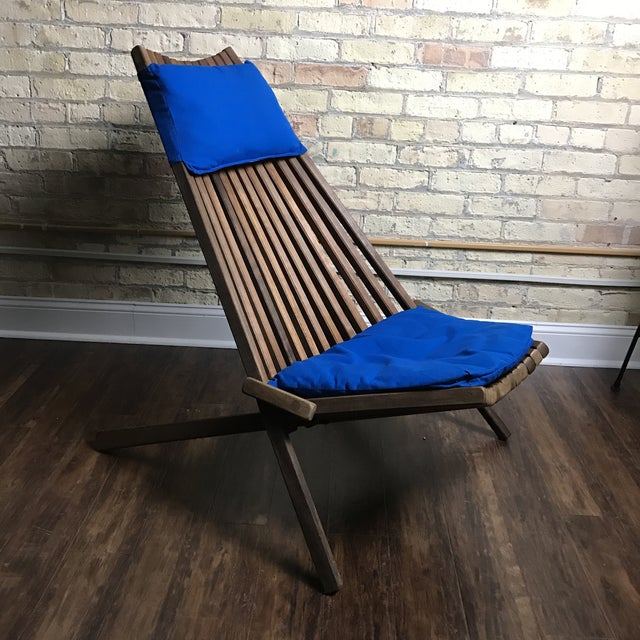 Mid Century Modern Teak Slatted Folding Chair Chairish