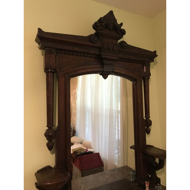 Walnut Renaissance Revival Vanity Dresser with Marble Top - Image 4 of 11