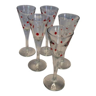 5 Crystal Raised White And Red Dot Crystal Aperitif Glasses