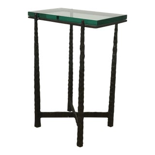 Custom Iron & Glass Cocktail Side Table