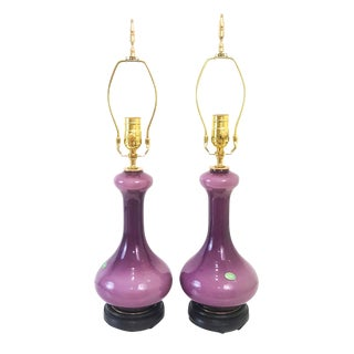 Mid-Century Purple Cased Murano Glass Lamps - a Pair
