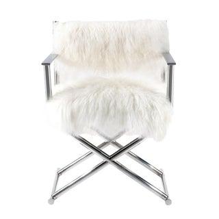 Mongolian Fur & Polished Metal Director's Chair