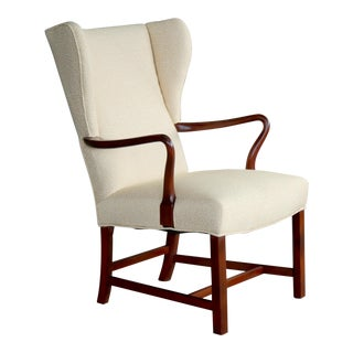 Kaare Klint Style Wing Chair in Cuban Mahogany