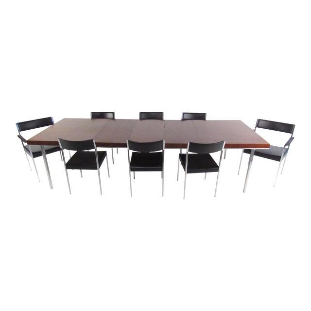 John Stuart Rosewood, Chrome & Leather Dining Set - Image 1 of 11