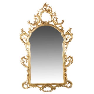French Louis XV Style Carved Giltwood Antique Mirror