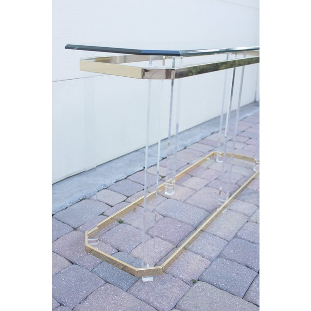 Image of Hollywood Regency Lucite & Brass Console Table