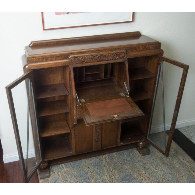 Antique Drop-Front, Side-By-Side Secretary Desk - Entryway Accent Cabinet - Antique Drop-Front, Side-By-Side Secretary Desk - Entryway Accent