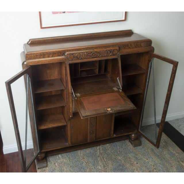 Image of Antique Drop-Front, Side-By-Side Secretary Desk - Entryway - Antique Drop-Front, Side-By-Side Secretary Desk - Entryway Accent