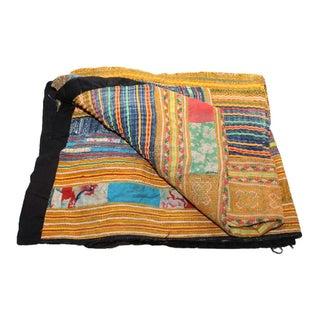 Orange & Blue Stripe Hmong Blanket