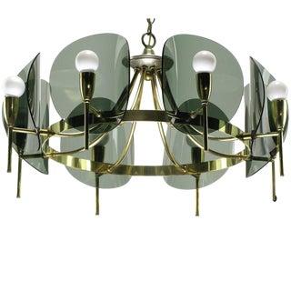 Brass & Smoked Acrylic Eight Arm Chandelier