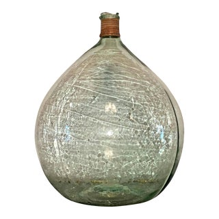 Vintage Argentine Handblown Light Green Glass Demijohn Wine Bottle