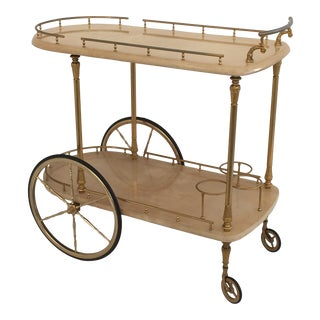 Aldo Tura Parchment Bar Cart Drinks Trolley