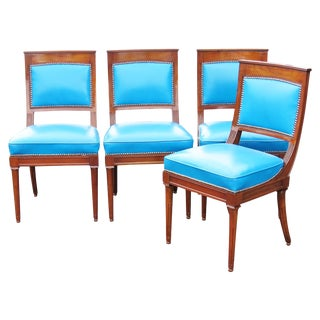 Directoire Style Carved Leather Side Chairs - Set of 4