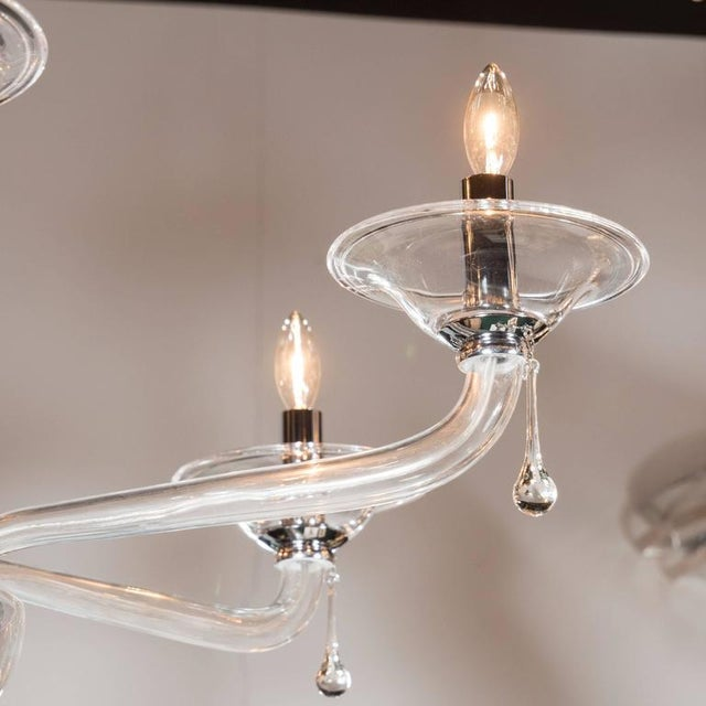 Mid-Century Handblown Six-Arm Murano Chandelier in Clear Glass - Image 7 of 11