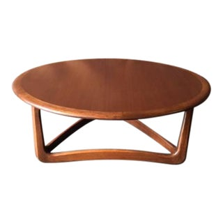 Mid-Century Walnut Refinished Sculpted Leg Coffee Table by Lane