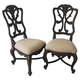 A Pair of French Style Wood Back Side Chairs
